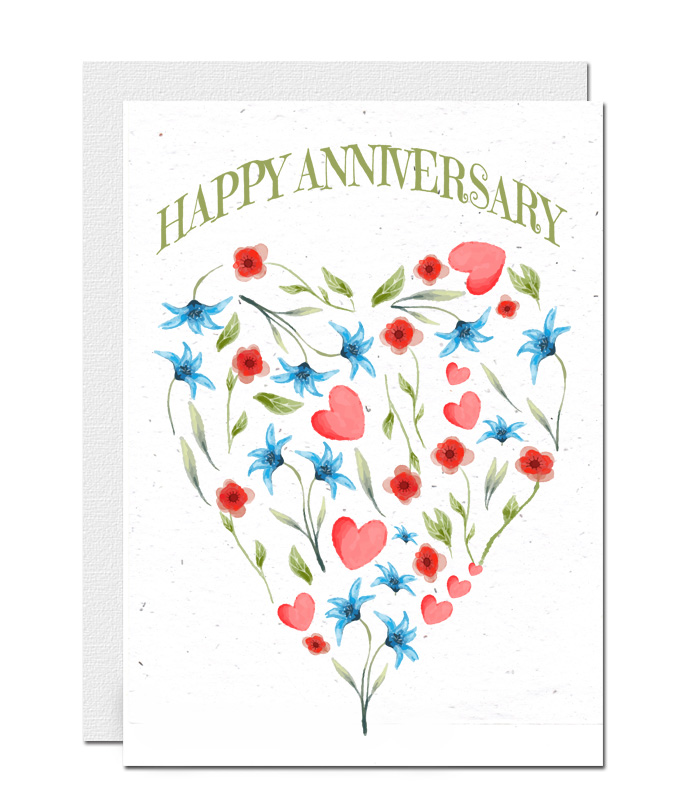 Anniversary plantable wildflower seed paper card 3
