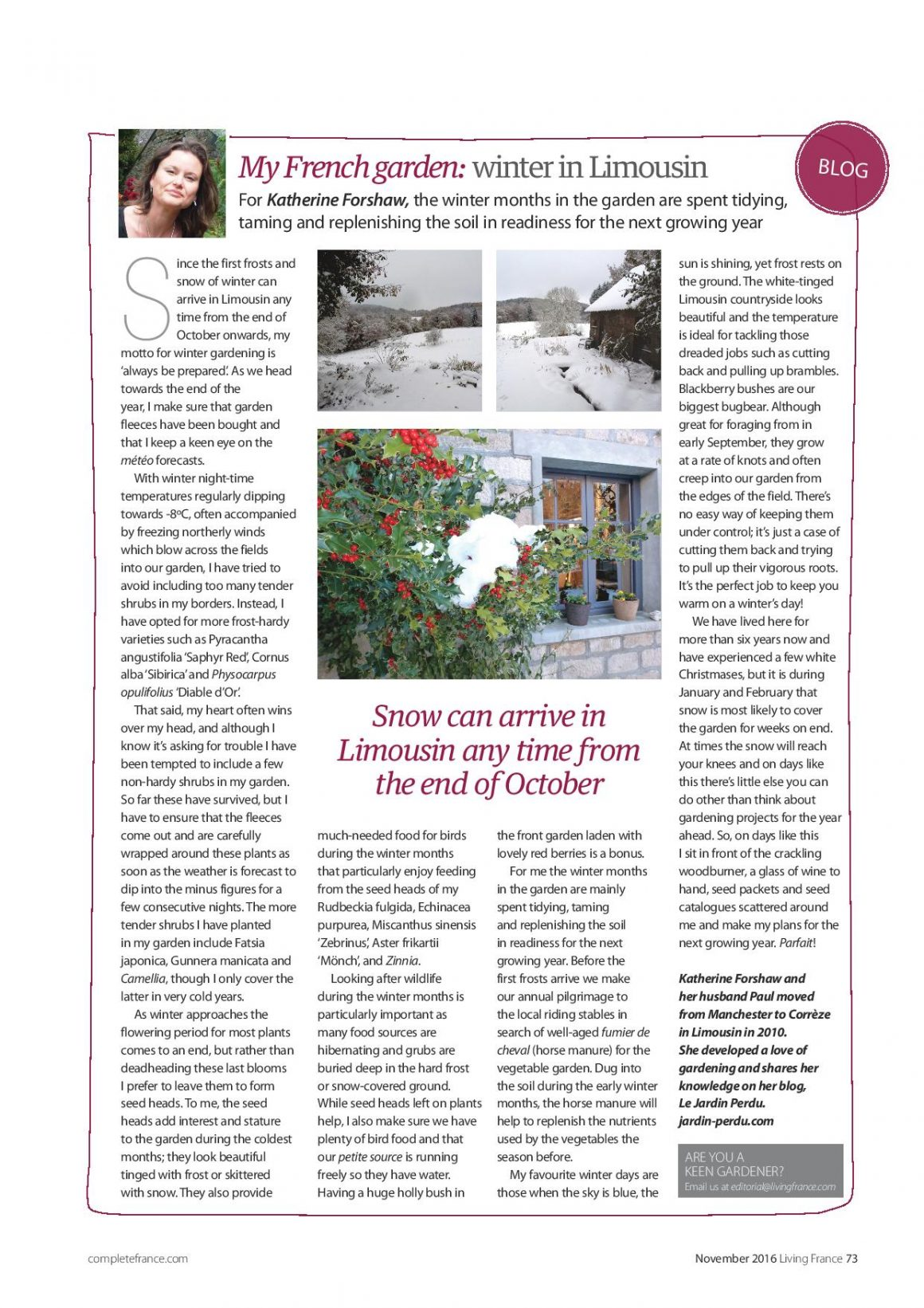 Living France magazine, My French garden, winter in the Limousin