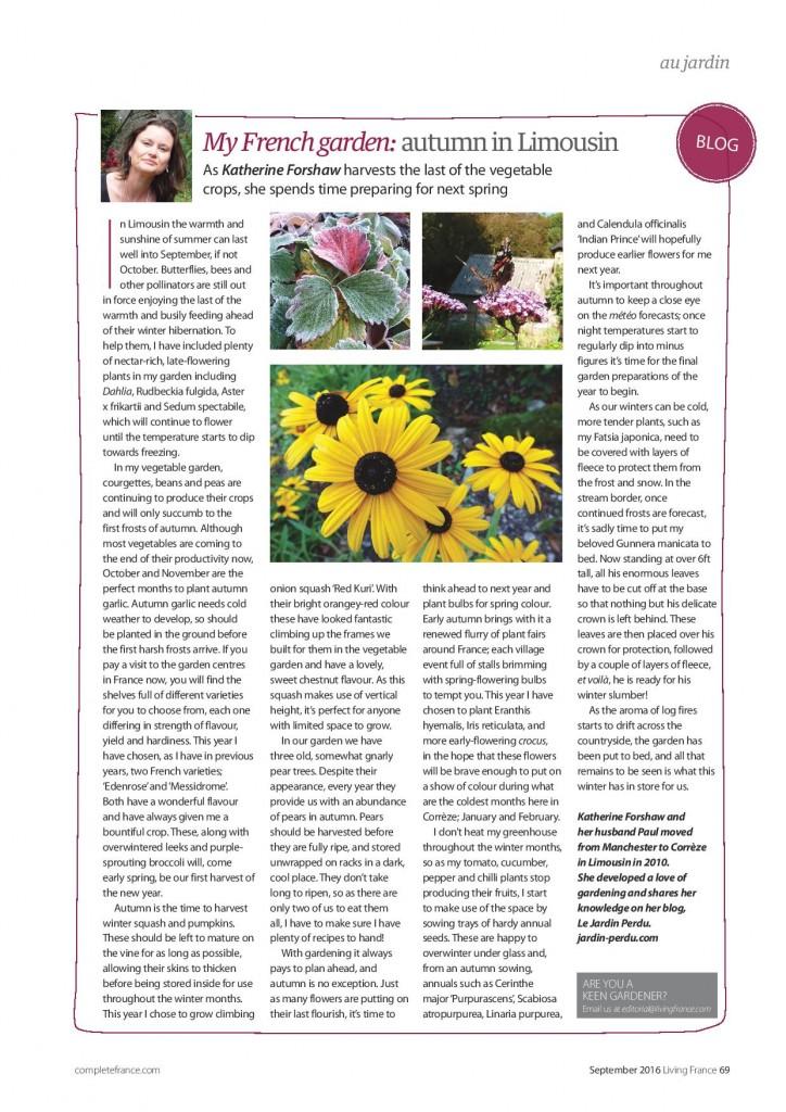 Living France, Le Jardin Perdu Autumn article